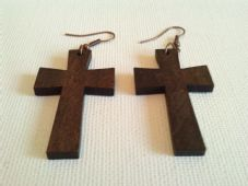 Wooden cross earrings (2)